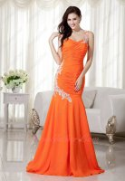 Style Of 2020 One Strap Orange Trumpet Elegant Lady Formal Prom Dress With Applique