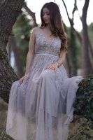 Designer See-Through Bodice Silver Tulle Prom Dress With Beading Applique