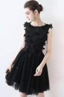 3D Applique Accented Gothic Dark Cocktail Party Short Black Dress LBD