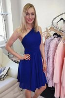 Elegant One Shoulder Elastic Back Royal Blue Chiffon Bridesmaid Dress Pleats