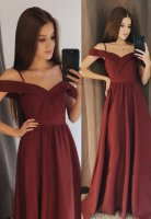 Elegant Formal Prom Dress Wine Red Off Shoulder Neck With Spaghetti Strap