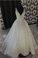 V Neckline Wave Stripe Sparkle Sequin Pageant Stage Prom Gown Chapel Train