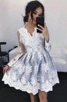 Sheer Long Sleeves Appliqued Lace Silver Tulle Dama Dress For Quinceanera