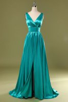 V Neckline Turquoise Front Middle Slit Annual Meeting Prom Dress Little Train
