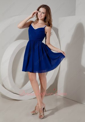 Sweet Spaghetti Straps Bordured V Neck Wedding Party Bridesmaid Dress In Royal Blue