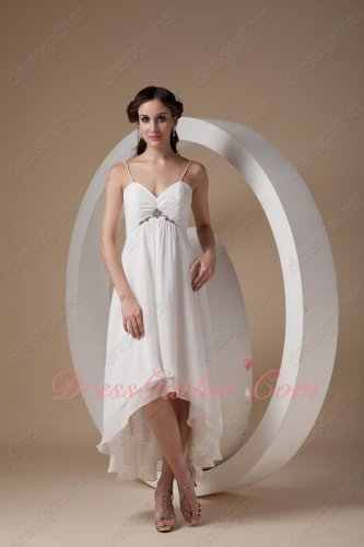 Spaghetti Straps Off White High-low Layers Chiffon Beach Wedding Dress Journey
