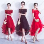 Off Shoulder Appliques Horsehair High Low Gathering Party Dance Dresses Lady Grace