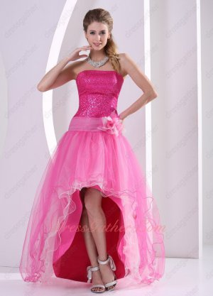 Hot Pink Flashy Sequins Bodice Open Front Skirt Girlish Graduation Dress