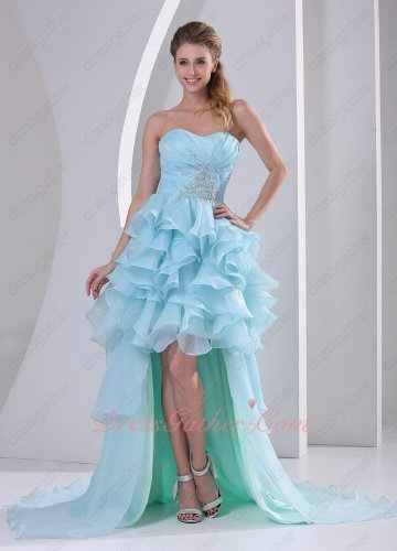 Cute Baby Blue Ruffles High-low Cocktail Pageant Evening Gowns With Layers Train
