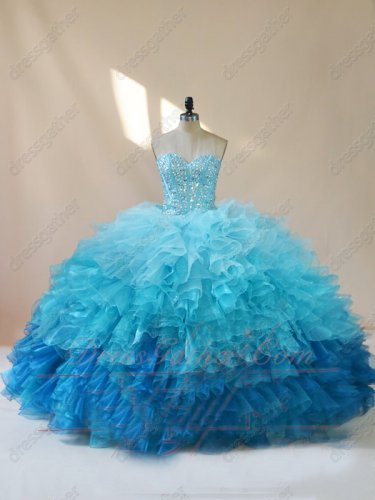 Three Layers Organza Wave Waterfalls Colorful Quinceanera Cake Ball Gown Girls