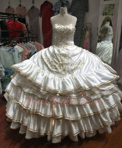 Horseshoe and Horse's Head Embroidery Off-White Western Quince Ball Gown Cake Layers