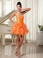 Stylish Sweetheart Orange Ruffles Outdoor Party Short Dress Design Your Own