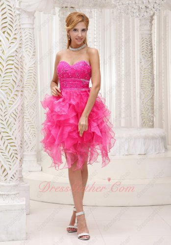 Lovable Hot Pink Sweetheart Ruffles Summer Cocktail Party Dress Girl Discount