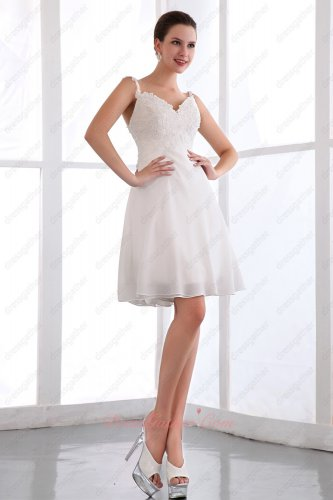 Custom Made Alteration Free Spaghetti Straps White Mini Prom Dress Soft Chiffon
