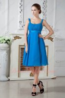 Square Azure Blue Empire Waist Cover Pregnant Belly Short Prom Dress Soft Chiffon