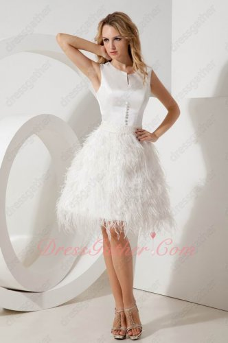 Luxurious Scoop Feather Knee Length Short Prom/Evening/Concert Dress Back Button