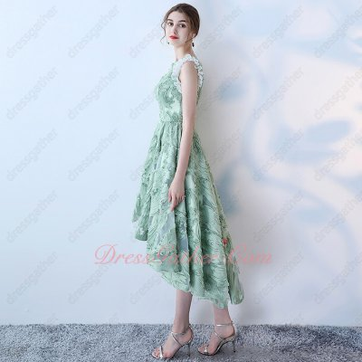 Pretty Scoop Flouncing Armhole High Low Cocktail Prom Dress Vintage Ming Green 3D Lace