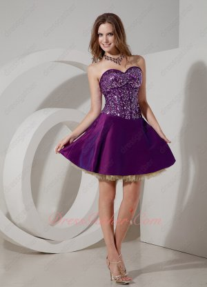 Sequin and Lines Bodice Girl Short Bright Purple Evening Club Dress Tulle Inside
