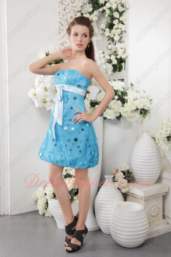 Sparkle Round Paillette Fabric Sky Aqua Blue Maiden Maiden Short Prom Dress Gift