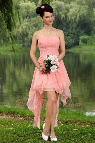 Fashion Icon Color Blush Pink Chiffon Asymmetrical Hemline Skirt Short Prom Gowns