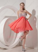 Silver Crystals Empire Cover Tummy Coral Chiffon Short Event Celebrity Prom Dress