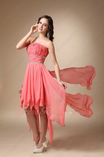 Inverted Triangle Watermelon Chiffon Hemline Drapped Skirt Short Garden Party Dress