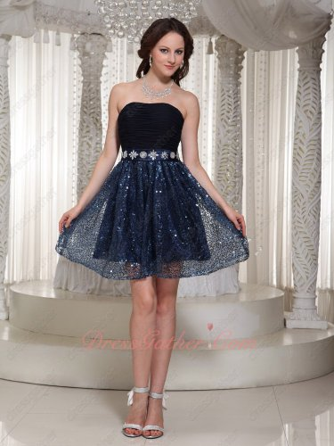 Alluring Strapless Flare Navy Sequin Short Skirt Concert Dress Formal Casual Dress