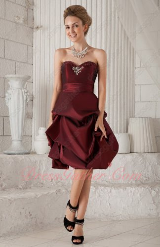 Current Burgundy/Most Dark Wine Taffeta Knee-length Bubble Prom Celebrity Type Dress