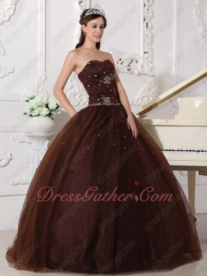 Chocolate Brown Tulle Adult Ceremony Quince Ball Gown With Rhinestone