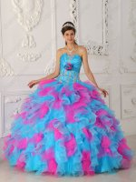 Strapless Hot Pink and Azure Aqua Mingled Ruffles Skirt Quinceanera Gown Excellent