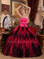 Black and Deep Hot Pink Cascade Layers Girl Cake Gown Quinceanera Dress For Cheap