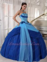 Aqua Blue and Royal Blue Mesh Cinderella Quinceanera Prom Ball Gown Gorgeous