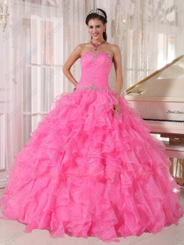 Floor-length Hot Pink Dense Organza Ruffles Quinceanera Party Ball Gown Tulle Inside