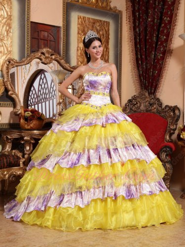 Bright Rape Flow Yellow Organza and Printed Purple Mingled Layers Quince Ball Gown