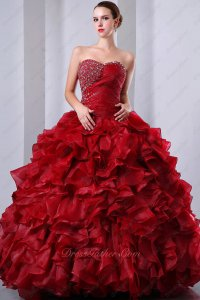 Brilliant Wine Red Handmade Pin-tucks and Ruffles Quinceanera Dresses Cold Wear