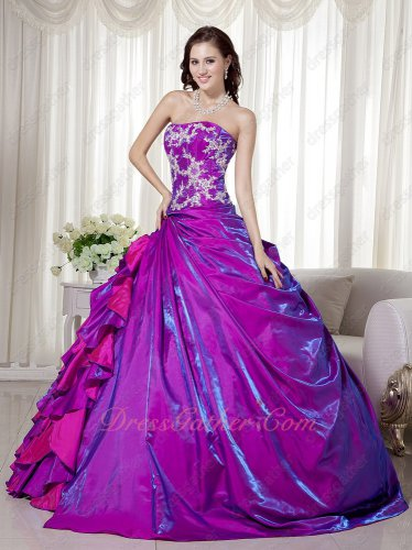 Shiny Purple Satin Embroidery Side Ruffles Quinceanera Sweet 16 Ball Gown Sunshine