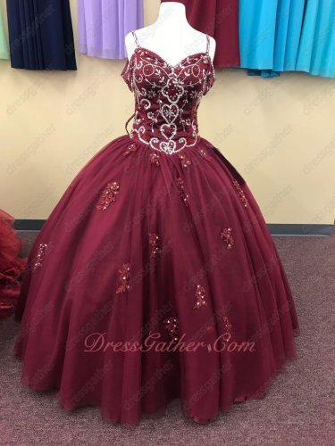 Burgundy Beading and Applique Spaghetti Straps Puberty Rite Gown Daughter Grown Up Lady