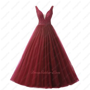 V Neck Sheer Tulle Cleavage Simple Style Puffy A-line Wine Red Prom Ball Gown