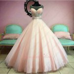 Scoop Sheer Tulle Neckline Floor Length Puffy Ruched Skirt Dancing Quinceanera Blush