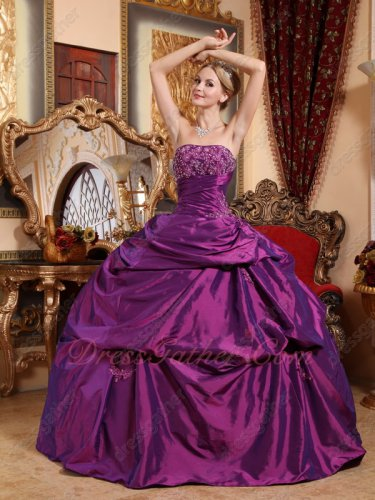 Wholesale Price Dark Violet Magenta Taffeta Wine Party Quinceanera Ball Gown With Slip