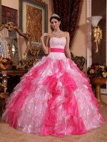 Pink and Hot Pink Mixed Serried Ruffles Skirt Contrast Color Quince Girl Court Gown