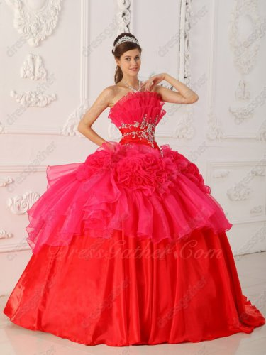 Low Price Layers Flouncing Neckline Hot Pink/Red Quinceanera Ball Gown Sale