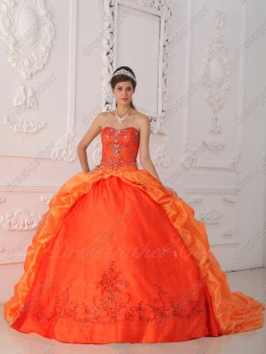 Embroidery Bottom Orange Red Quinceanera Ball Gown With Chapel Bubble Train