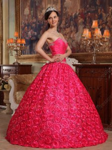 Hot Pink Strapless Quinceanera Dress 3D Fowers Ball Gown Low Price