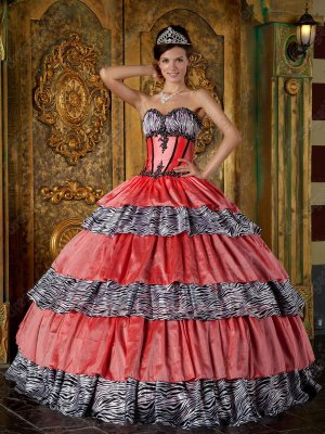 Zebra/Watermelon Taffeta Interphase Layers Old Style Quinceanera Dress Clearance