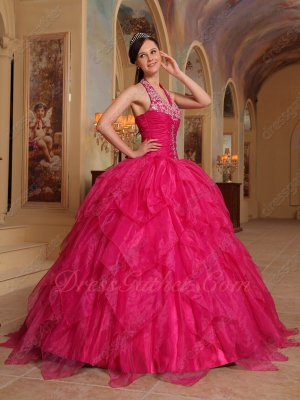 Halter Inverted Triangle Fuchsia Organza Ruffles Quinceanera Dress Cheap