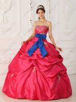 Royal Blue/Ribbon Waist Decorate Very Puffy Slip Quince Court Ball Gown Coral