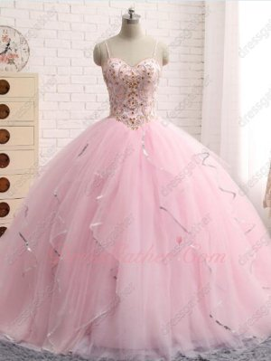 Lovely Pink V-Shaped Waist Quince Puffy Dance Gown Girls Gift Sequin Tapes Edging