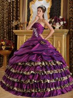 Bright Mauve Purple/Leopard Layers Half Bubble Cover Quinceanera Cakes Dress