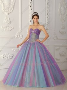 Multilayer Multicolor Colorful Tulle Princess Quince Ball Gown Stage Performance